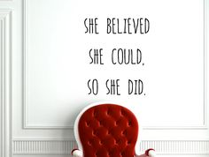 """Motivational Inspiring Quote Wall Decal """"She Believed She Could so She Did"""" 17x21 Inches"""