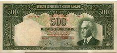 2.Emisyon 500 Türk Lirası II.Tertip Old Money, Tree Branches, Art Pieces, Coins, History, Artist, Money, Stop It, White People
