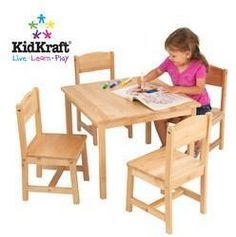 KidKrafts Farmhouse Table and 4 - Chair Set provides kids with a space perfect for playing board games, working on homework and much more.Features: Sized perfec