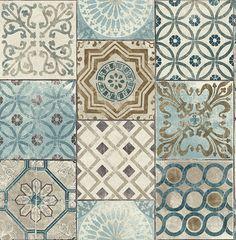 Tapete, Designtapete, Ornamente, Marmor, Kacheln, Blau, Messing, Ecru, Schimmer