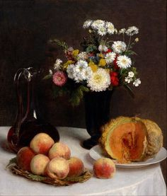 Still Life With A Carafe, Flowers and Fruit, 1865 Henri Fantin-Latour (1836–1904)