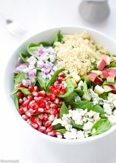 This Quinoa, Pomegranate and Spinach salad with balsamic vinaigrette makes a colorful fall side salad or a light meal. Full of nutritious ingredients.