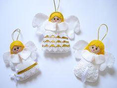Kit de enfeites de Natal composto por 3 peças confeccionadas em feltro