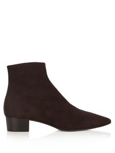 The Row: Ambra boots in deliciously rich dark brown suede ... would swap my first-born for these!