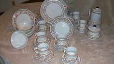 Mexican pottery dinnerware set for 6 beige with brown by NelandAda,