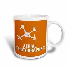 3dRose Orange Drone with Aerial Photographer words, Ceramic Mug, 15-ounce