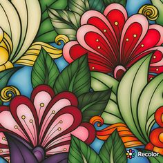 Done by a fellow coloring enthusiasts Flower Phone Wallpaper, Flower Doodles, Motif Floral, Naive Art, Web Design, Mural Art, Psychedelic Art, Whimsical Art, Zentangle