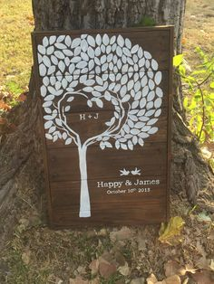 Recycled Customized Handmade pallet wedding Tree Guestbook