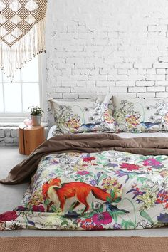 Plum  Bow Forest Critter Duvet Cover :: really just love the room itself. White brick walls are sooo beautiful!