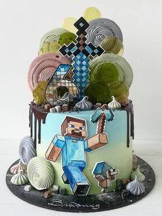 Pastel Minecraft, Minecraft Cake, Minecraft Party, Just Cakes, Cakes For Boys, Buttercream Cake, Fondant Cakes, Beautiful Cakes, Amazing Cakes