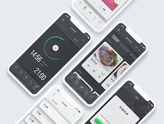 Keira - Mobile Fitness App UI Kit by Royalz Elements on Web Design, App Ui Design, Interface Design, Iphone All Mobile, Mobile App, Health And Fitness Apps, Health App, Website Templates, Best Website Design