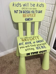 A personal favorite from my Etsy shop https://www.etsy.com/listing/272322870/kids-green-time-out-chair
