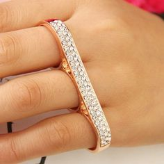 Jewelry Fashion Simple Rhinestone Rings Silver Golden Finger Rings for Women