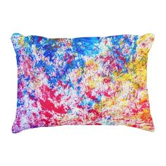 "Rainbow Paint Polyester Accent Pillow 16"" x 12"" #pillow #accentpillow #throwpillow #homedecor #interiordesign #fashion #style #trend #homedecorating #interiordecorating #roommakeover #rainbow #love #colorful #paint"