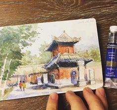 "234 Likes, 4 Comments - A Travel Diary (@_atraveldiary_) on Instagram: ""China  - @iixxoouull • • • • • • Repost from @iixxoouull - 10.03 法源寺 #moleskine #watercolor…"""