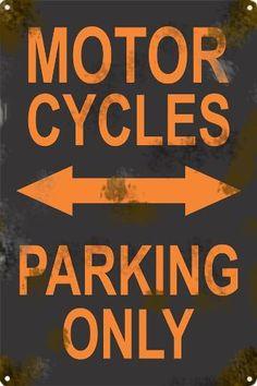 Cartel Antiguo Chapa Moto Parking Only 60x40cm