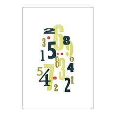 "This poster (Collage #A) with lime green and black numbers and reddish accents from IKEA is only $12!  W 27 ½ "" x H 39 ¼ "" (W 70 cm x H 100 cm). Fits into a frame with a picture measurement of 27 1/2"" x 39 3/8""."