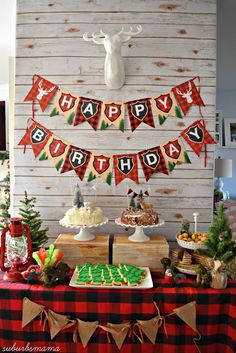 Kids lumber jack birthday party. winter and christmas party idea