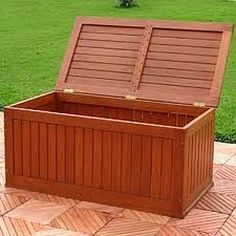 wooden deck storage box...perfect for outdoor cushions and games