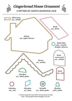 Down Grapevine Lane: Tutorial: Gingerbread House Ornament - template stuffed toy pattern sewing handmade craft Gingerbread House Template, Gingerbread Ornaments, Christmas Gingerbread House, Gingerbread Houses, Felt Christmas Decorations, Felt Christmas Ornaments, Christmas Diy, Felt Crafts, Christmas Crafts