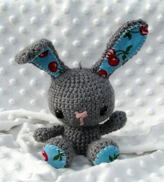 Free Crochet Bunny Pattern. Link to freebie pattern,  Adore the fabric ears. Direct link here if no Rav account: http://makezine.com/craft/craft_pattern_spring_bunny/