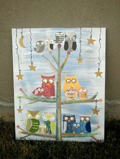 Owl Families in a Twiggy Tree with Stars and Moon made in Cut Paper and Paint Collage Wall Art. $55.00, via Etsy.