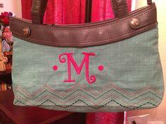 Grey skirt purse, turquoise cross pop skirt, hot pink personalization.