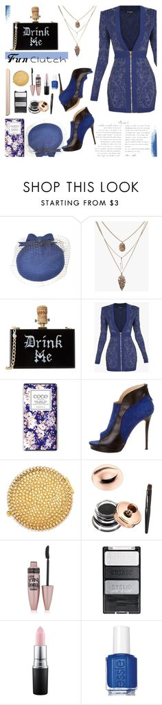 """""""Fun Clutch"""" by andrea2andare ❤ liked on Polyvore featuring Balmain, Jerome C. Rousseau, Estée Lauder, Maybelline, MAC Cosmetics, Essie, clutches and polyvoreeditorial"""