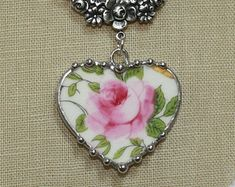 """Broken China Jewelry Cotswold """"Royal Crown Derby"""" PINK ROSE Heart Necklace"""