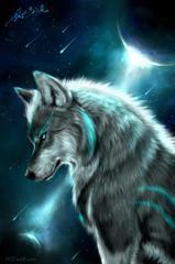 """арт.22594 """"Лунный волк"""" [40*55] Алмазная мозаика"""