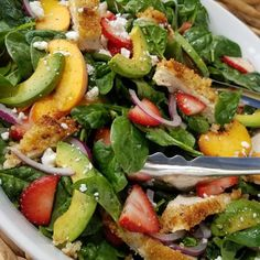 This may have been THE best salad I've had all Summer! Seriously amazing combo! Serves 4-6 Salad Ingredients: (Pick & choose your faves) 8-10 cups organic baby spinach 1-2 fresh sliced peaches 1 pint fresh sliced strawberries 1 avocado sliced 1 small red onion, sliced 1/4 cup fresh crumbled...