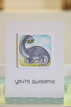 "This card reminds me of ""Land before time"" made by the ever lovely Nicole from Unify Handmade Dinosaur Cards, Paper Craft Making, Lawn Fawn Stamps, Weekend Fun, Card Making Inspiration, Card Tags, Kids Cards, Cute Cards, Greeting Cards Handmade"