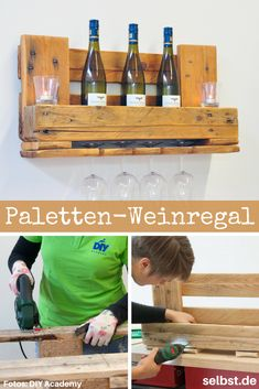 This wine rack consists of an old Euro pallet and can accommodate three to four wine bottles and four glasses! shelf # Palette furniture The post Pallet Wine Rack appeared first on Garden ideas - Upcycled Home Decor Euro Pallets, 1001 Pallets, Wooden Pallets, Upcycled Home Decor, Diy Home Decor, Vin Palette, Diy Academy, Palette Furniture, Wine Rack Plans