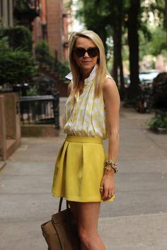 Skirt: ASOS. Shirt: Sandro. Purse: Celine. Sunglasses: Karen Walker. Shoes: Pour La Victoire. Jewels: David Yurman, Jcrew, Pomellato, Stella, Kate Spade. Monogram Necklace: Max.