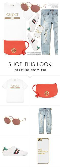 """""""Casual Look"""" by smartbuyglasses-uk ❤ liked on Polyvore featuring Gucci, Tory Burch, Miu Miu, Hollister Co., Balmain, BaubleBar, white and gucci"""