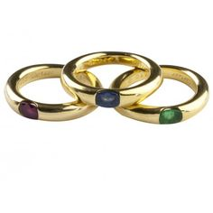 Classic and colorful. #cartier #rings #jewelry Cartier Multi Stone Stackable Ring Set