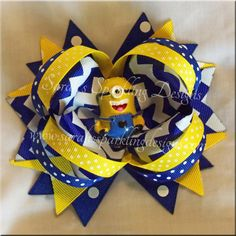 Yellow Guy Inspired Boutique Hair Bow  Yellow by BowsandMorebyJenn, $10.00