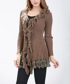 Love this Taupe Wool-Blend Lace-Trim Ruffle Sweater by Simply Couture on #zulily! #zulilyfinds