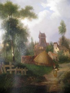 """East Anglian Village Scene by H. P. Powell. Oil on canvas. English. CIRCA DATA: 1870 DIMENSIONS: 46"""" h x 36"""" w PRICE: $1,700"""