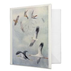 Binder - Vintage Office Decor A very beautiful vintage illustration of birds in flights adorns the front of this binder. For the b...