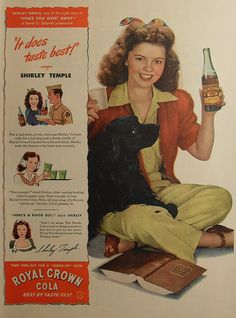 1940s SHIRLEY TEMPLE royal crown cola RC soda vintage hollywood classic advertisement