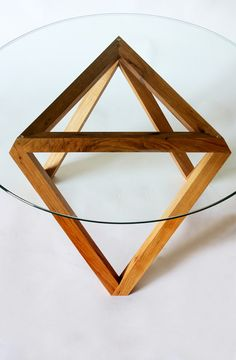 Tre Coffee Table, Glass, Wood, Modern