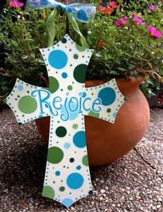 diy Wooden Hand Painted Crosses with MultiColored Polka Dots - silk ribbon, rejoice, crafts Painted Wooden Crosses, Wood Crosses, Wooden Hand, Wooden Diy, Christmas Crafts, Christmas Decorations, Christmas Ornaments, Easter Crafts, Wood Crafts