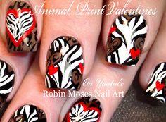 "Animal Print Hearts ""animal print nails"" ""wild valenties"" ""unusual valentine"" ""valentine nail art"" ""valentine ideas"" ""animl print valentine"" | Nail-art by Robin Moses | Bloglovin'"