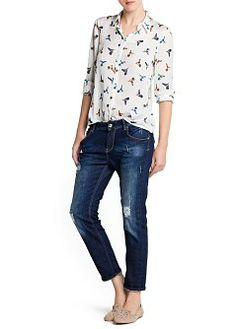 MANGO - CLOTHING - Tops - Bird print flowy blouse
