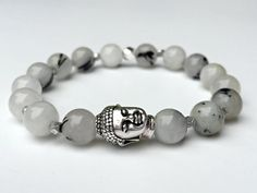 8mm Natural Round Rutilated Quartz Gemstone Stretch Bracelet, AA Quality Beads Reiki Charged Handcrafted Smudge Infused