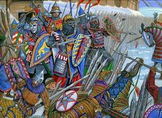 Rus and other Slavic warriors fighting off Mongols Medieval Knight, Medieval Art, Medieval Fantasy, Military Art, Military History, Empire Romain, Knight Art, History Images, Armours