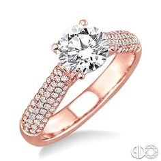 Round Brilliant Engagement Ring in Rose Gold with pave diamond accented shank
