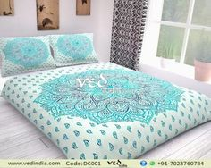 Buy beautiful sea green Indian mandala queen size duvet cover set in ombre design. This stunning boho comforter cover or quilt set is sure to add bohemian flares to any bedroom. Comforter Cover, Duvet Bedding, Duvet Cover Sets, Bedspread, Handmade Duvet Covers, Modern Duvet Covers, Mandala Comforter, Mandala Duvet Cover, Bohemian Comforter Sets
