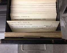 """Flooding Threatens The [New York] Times's Picture Archive"" -- Fortunately, their card catalog [drawer shown], never digitized, and the key to accessing the estimated 6 million items in the collection, was protected by boxes stacked on top which absorbed much of the water before reaching the cards."